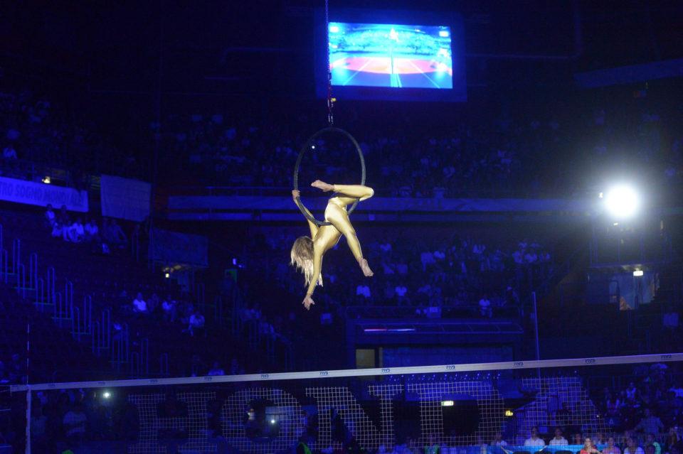 aerialist on hoop